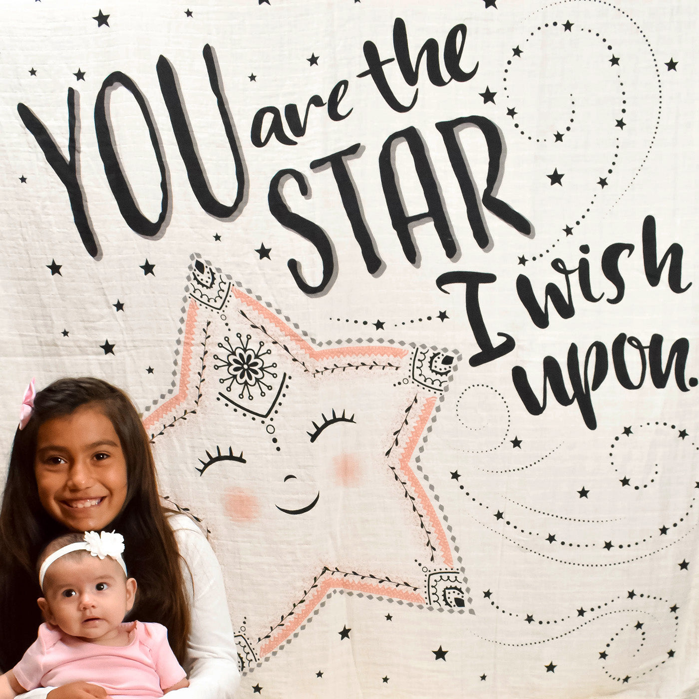 Baby and Sister with Organic Swaddle You are the Star I Wish Upon