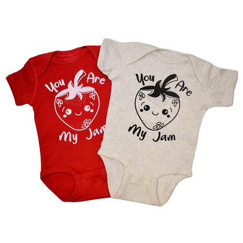 Strawberry Onesie with You Are My Jam Graphic