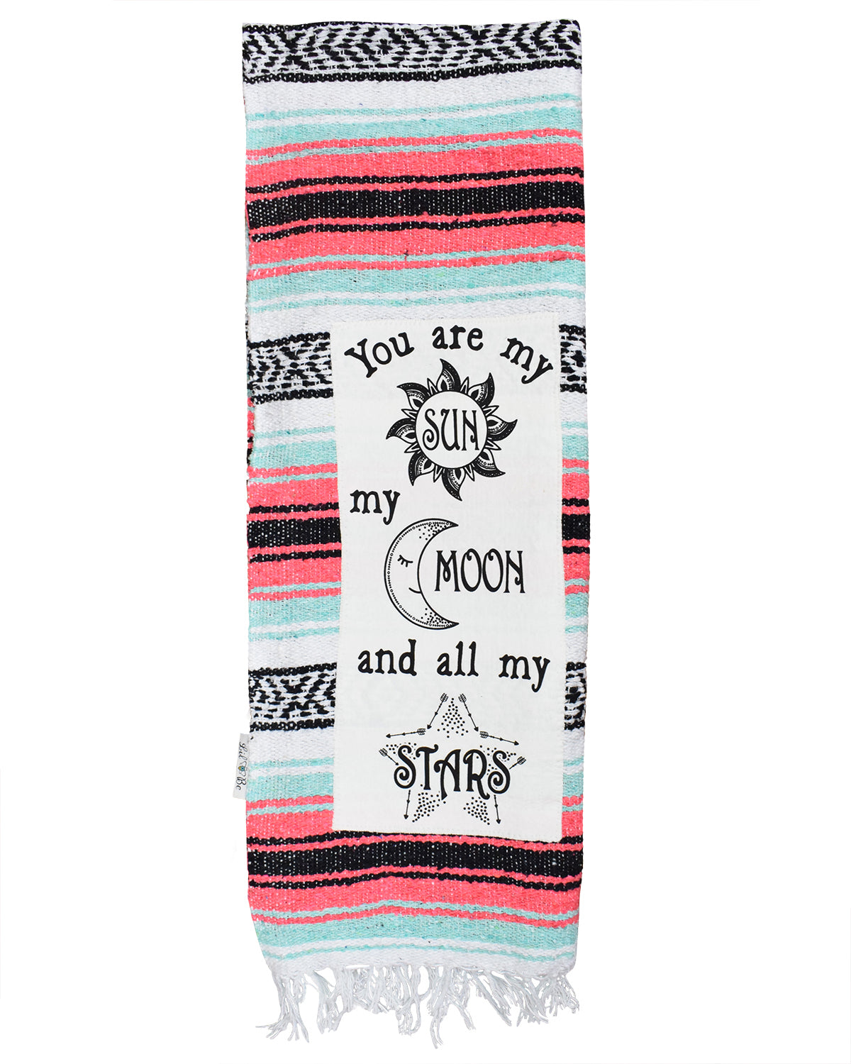 "Textured Family Blanket Single Layer ""Sun Moon Stars"" - Coral"