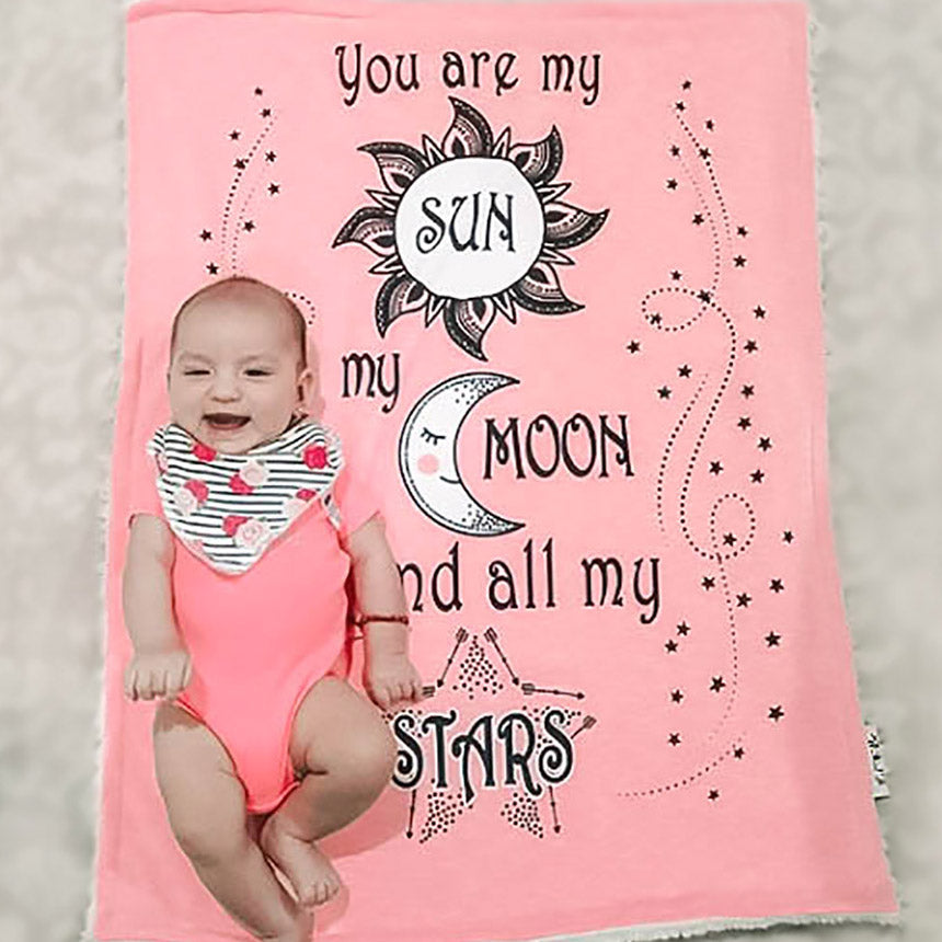 Baby Girl on Sun Moon Stars Cozy Baby Blanket