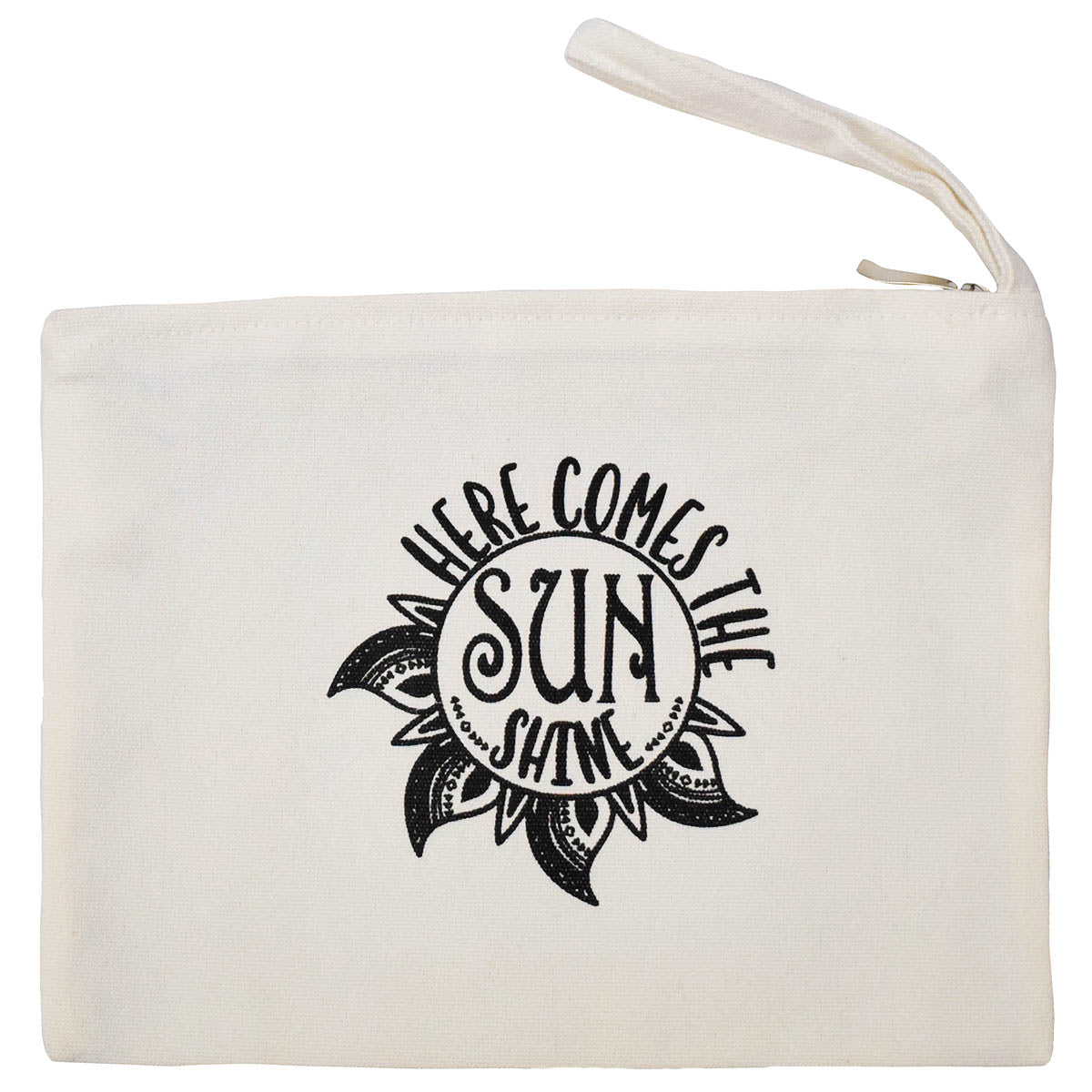 Natural Zipper Pouch with Here Comes The Sunshine Graphic