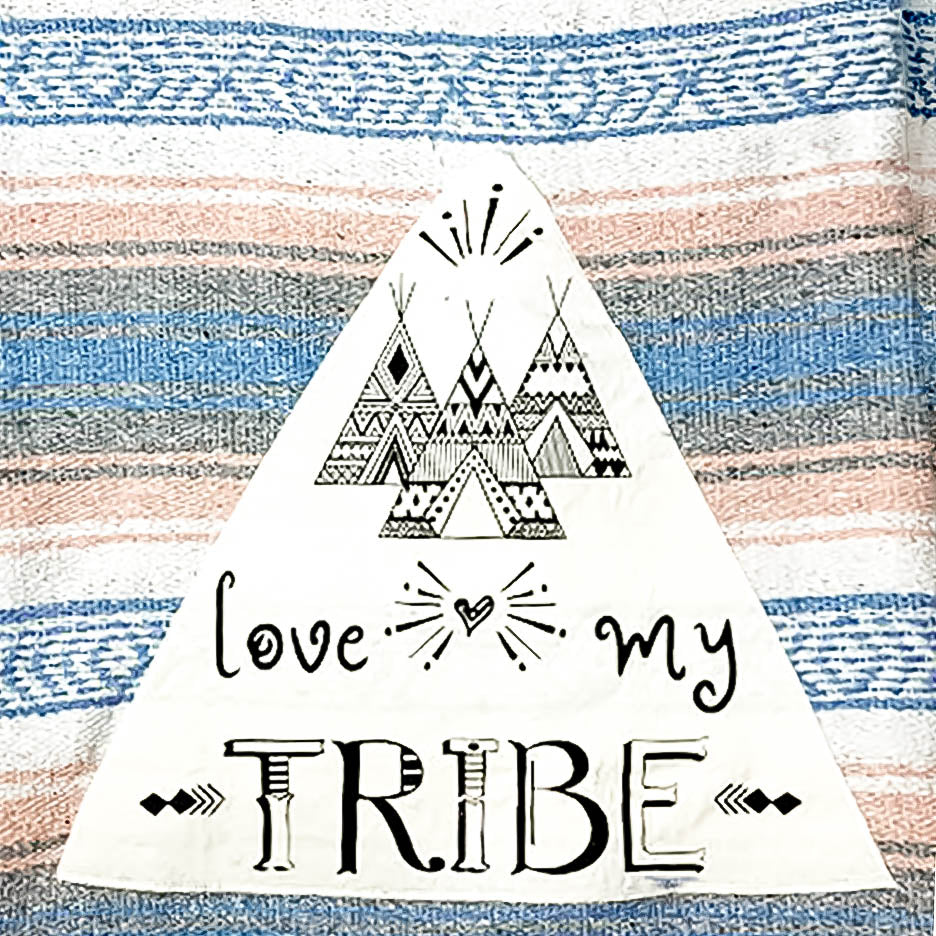 "Family Mexican Blanket ""Love My Tribe"" - Coral / Blue"