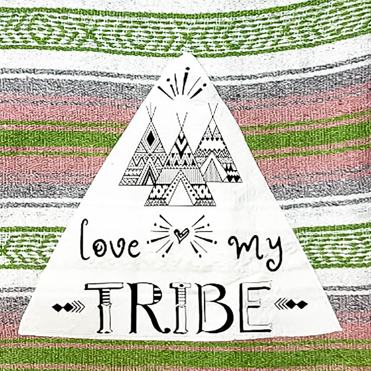 Textured Family Blanket Single Layer Love My Tribe - Pink/lime