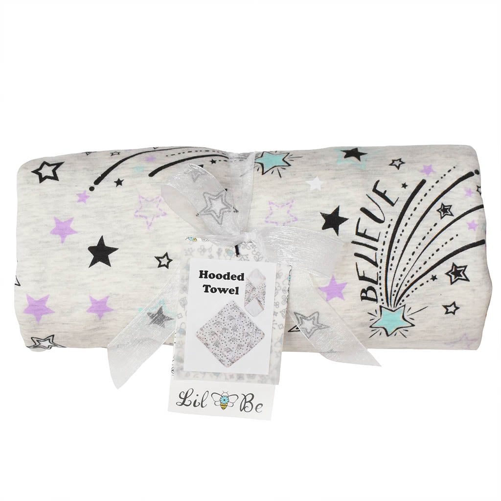 Shooting Star Baby Hooded Towel Wrapped in Ribbon for Gift Giving
