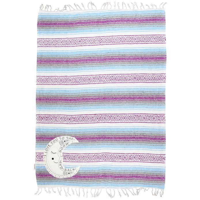 "Family Mexican Blanket ""I Love You to the Moon"" - Purple/Blue Throw"
