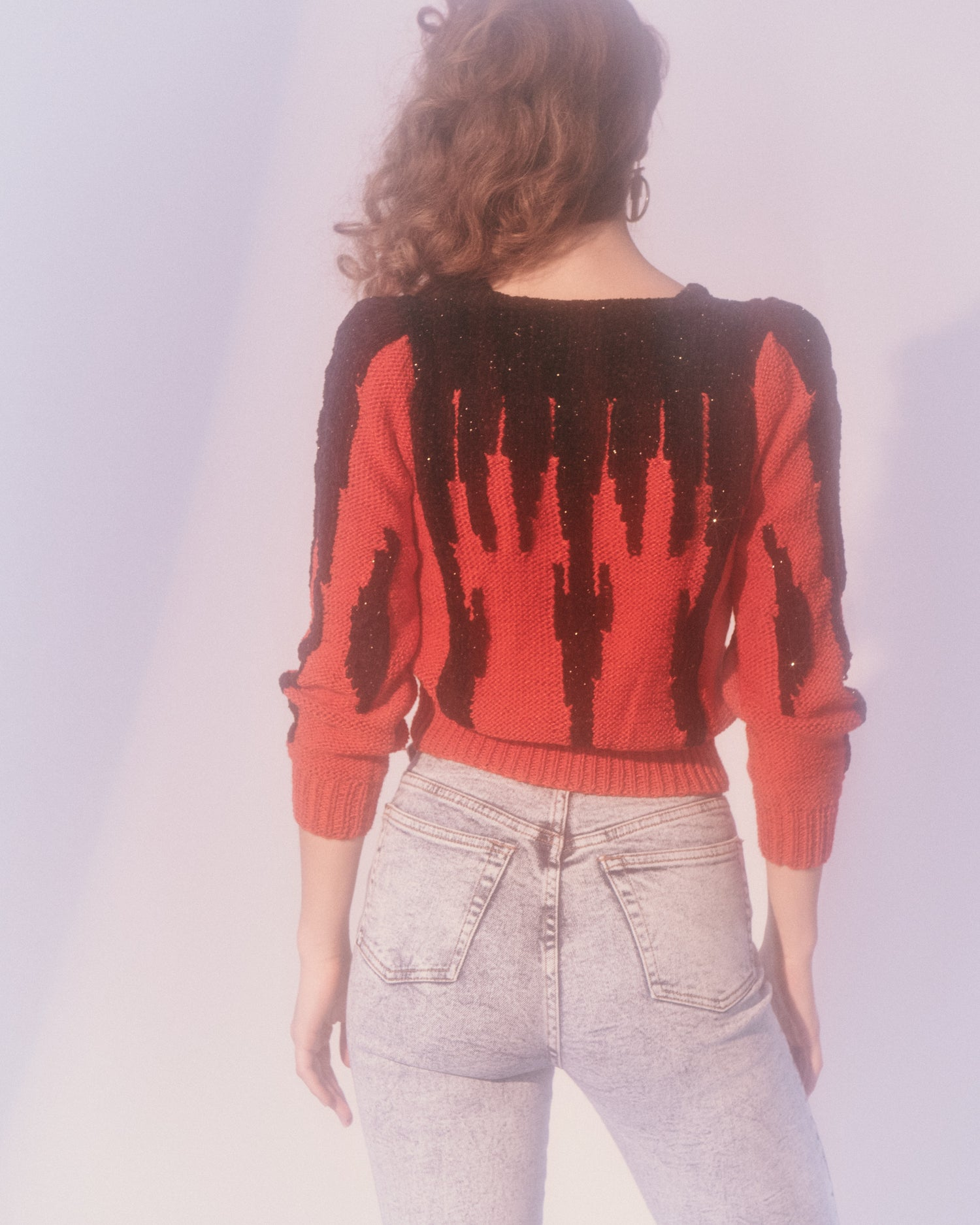 Black and Red Intarsia Sweater