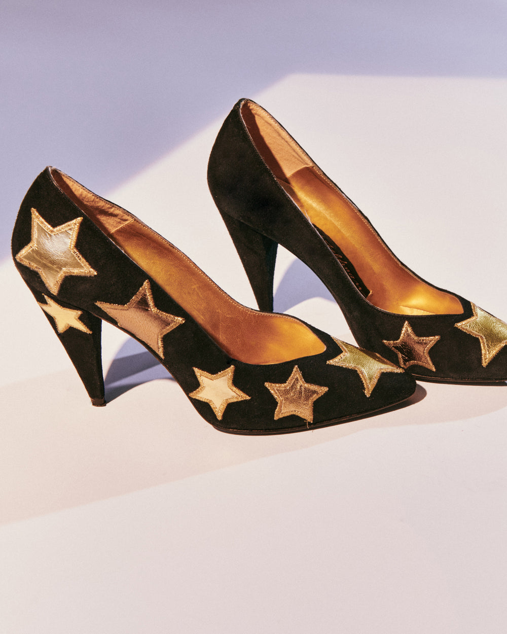Suede Heels with Metallic Stars