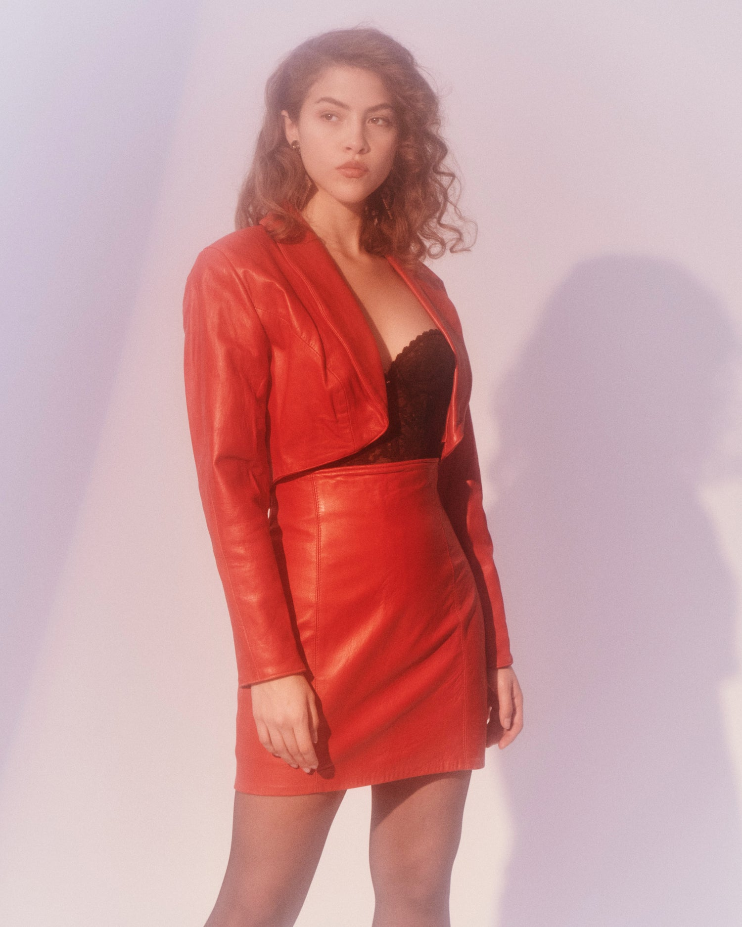 Red Leather Skirt and Jacket Set