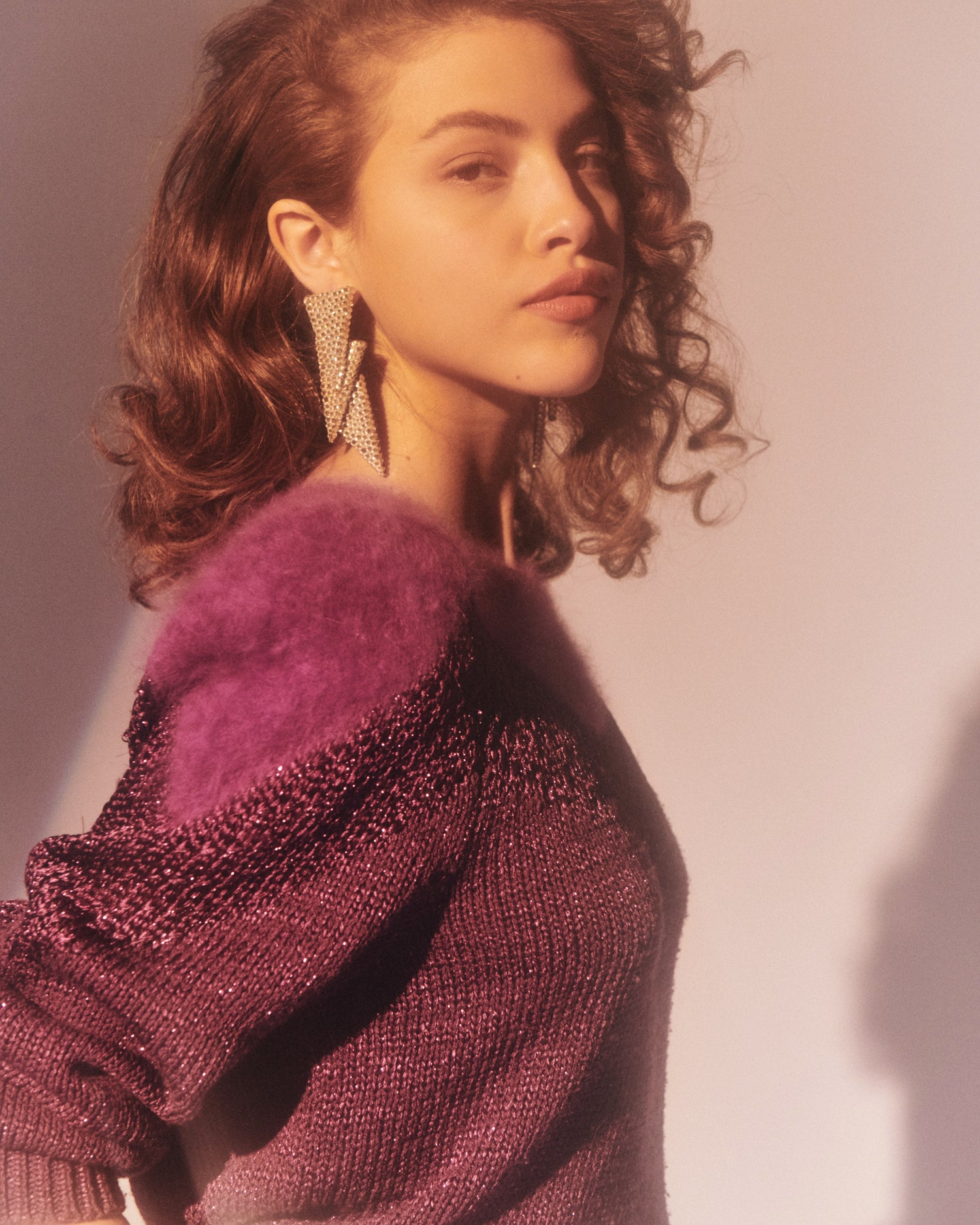 Deep Purple Angora and Lurex Knit Sweater