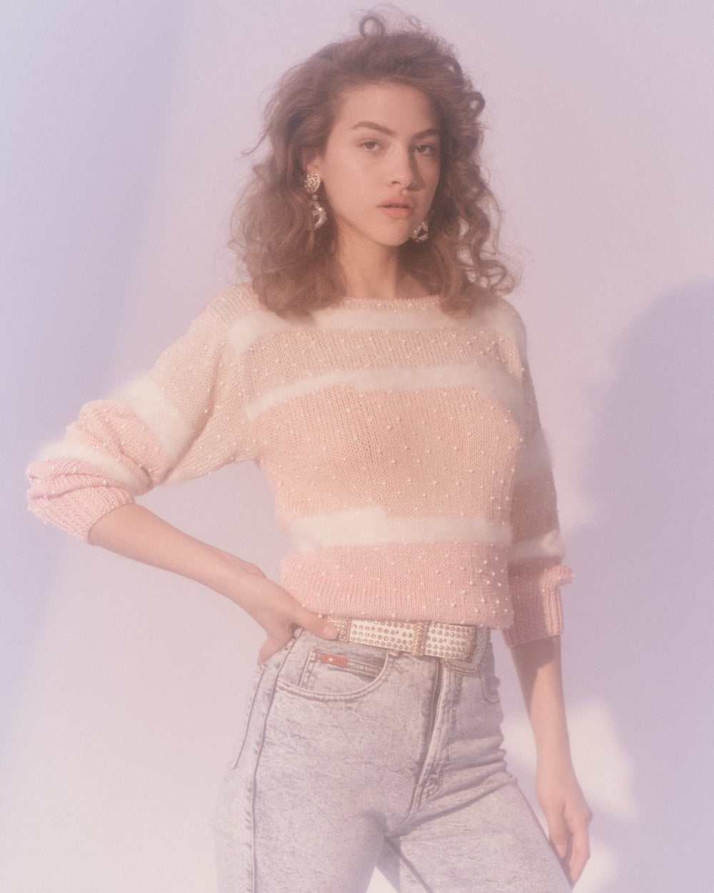 Pink Mixed Media Sweater