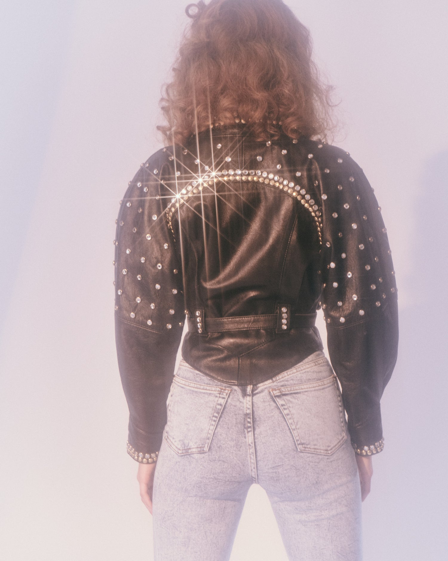 Rhinestone Studded Leather Jacket