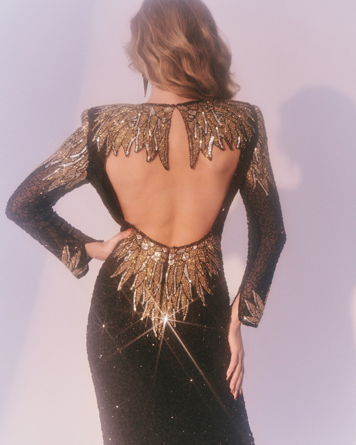 Black & Gold Beaded Dress