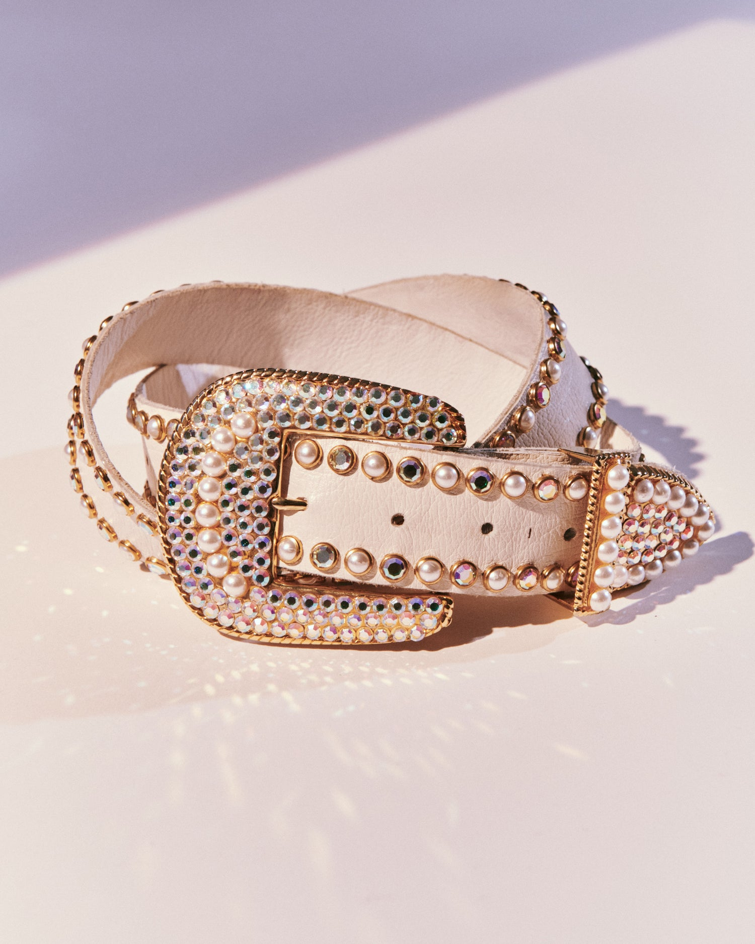 Rhinestone and Faux Pearl Belt