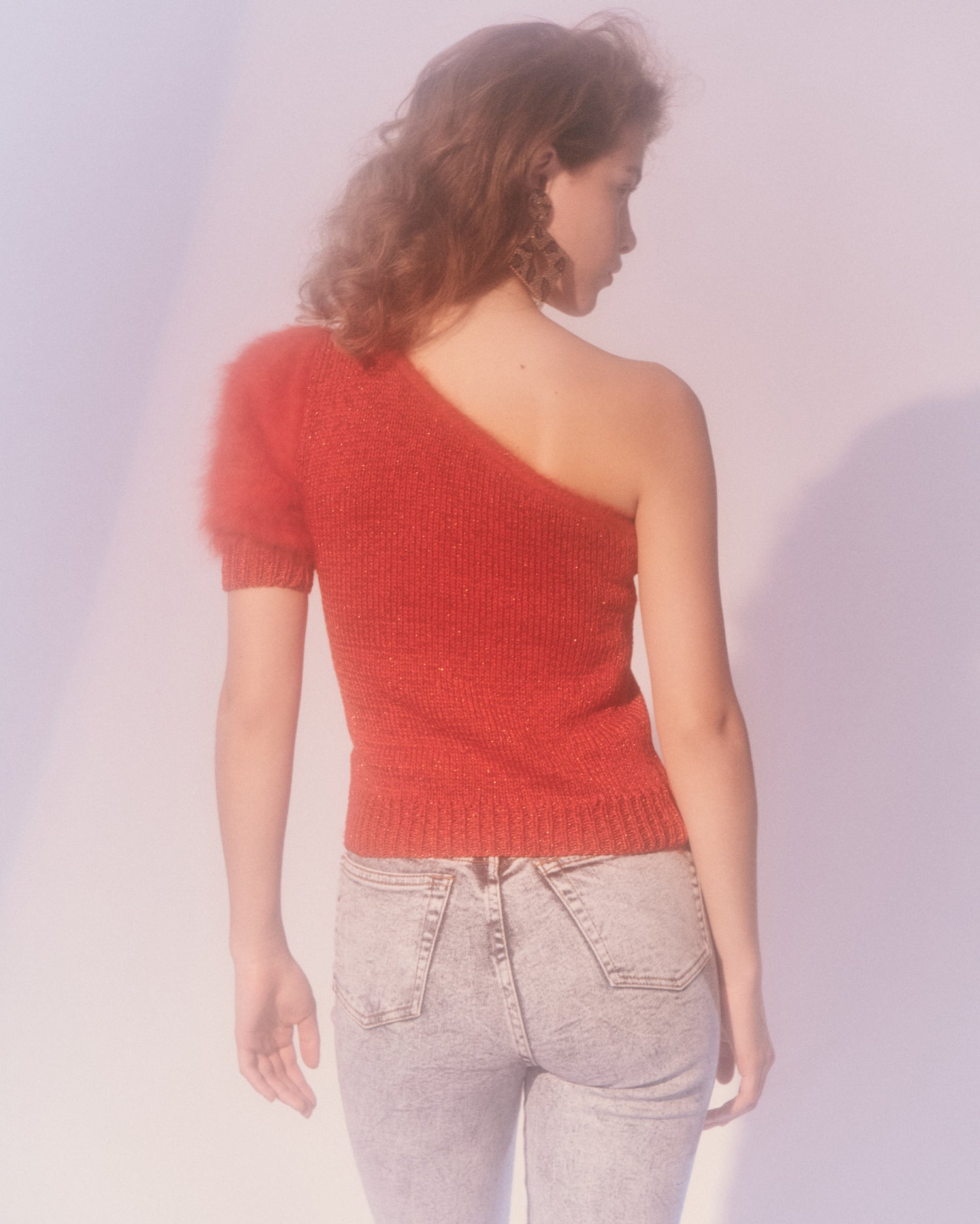 Red Angora Asymmetrical Sweater
