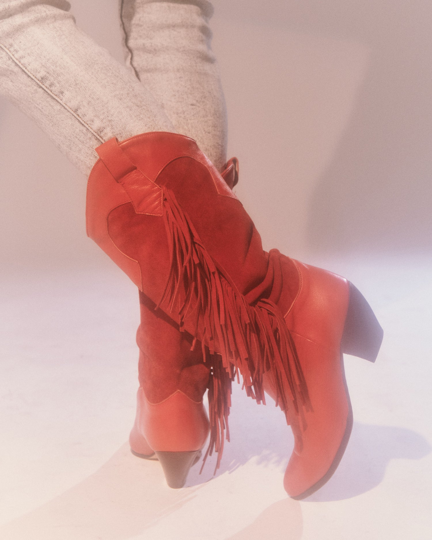 Suede Fringe Western Boots