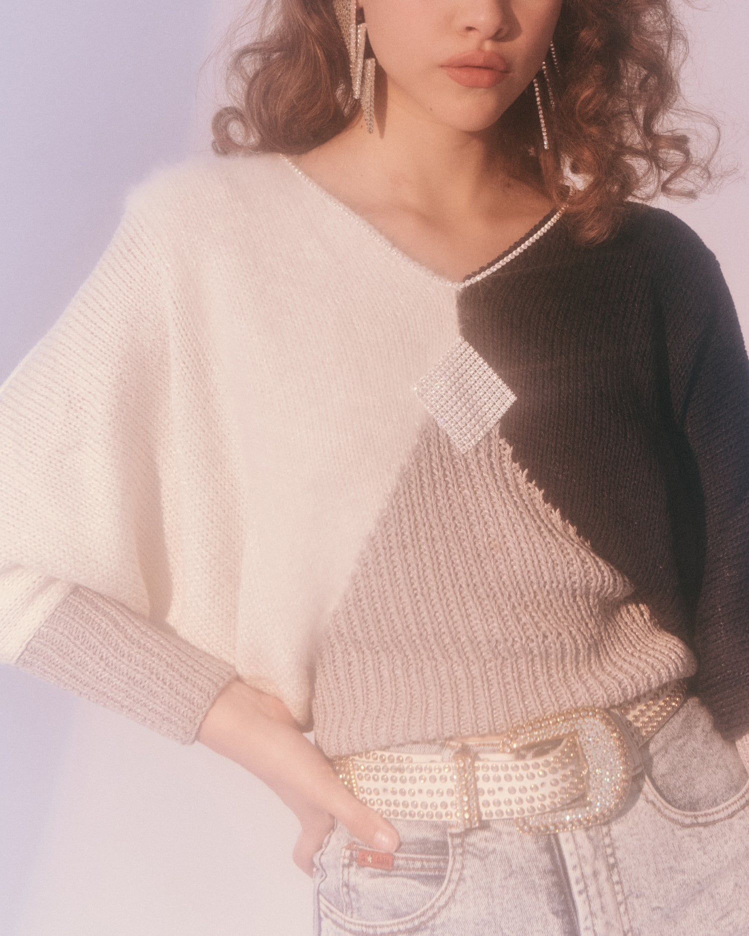 Rhinestone Mixed Media Sweater