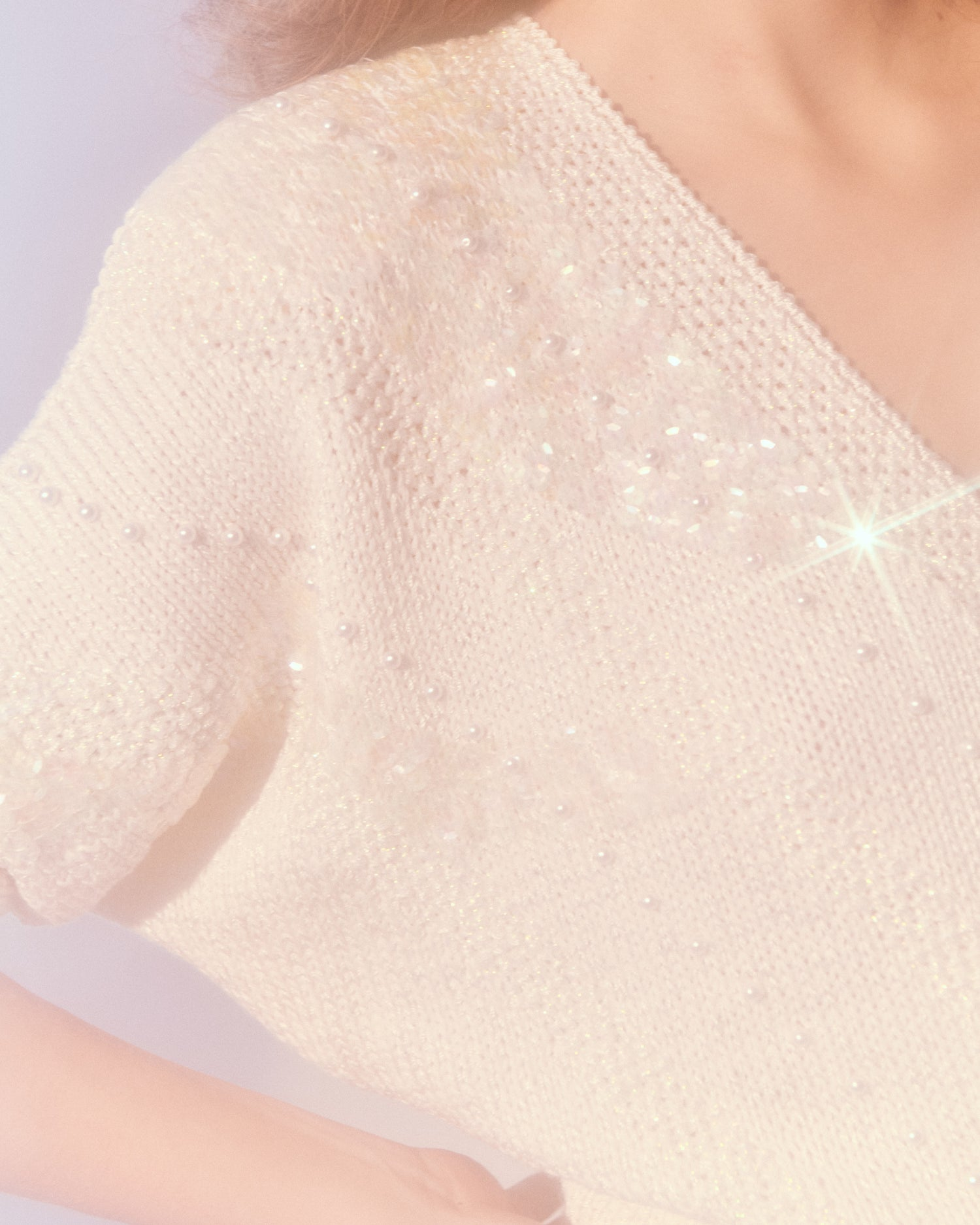 Sequin and Faux Pearl Embellished Sweater