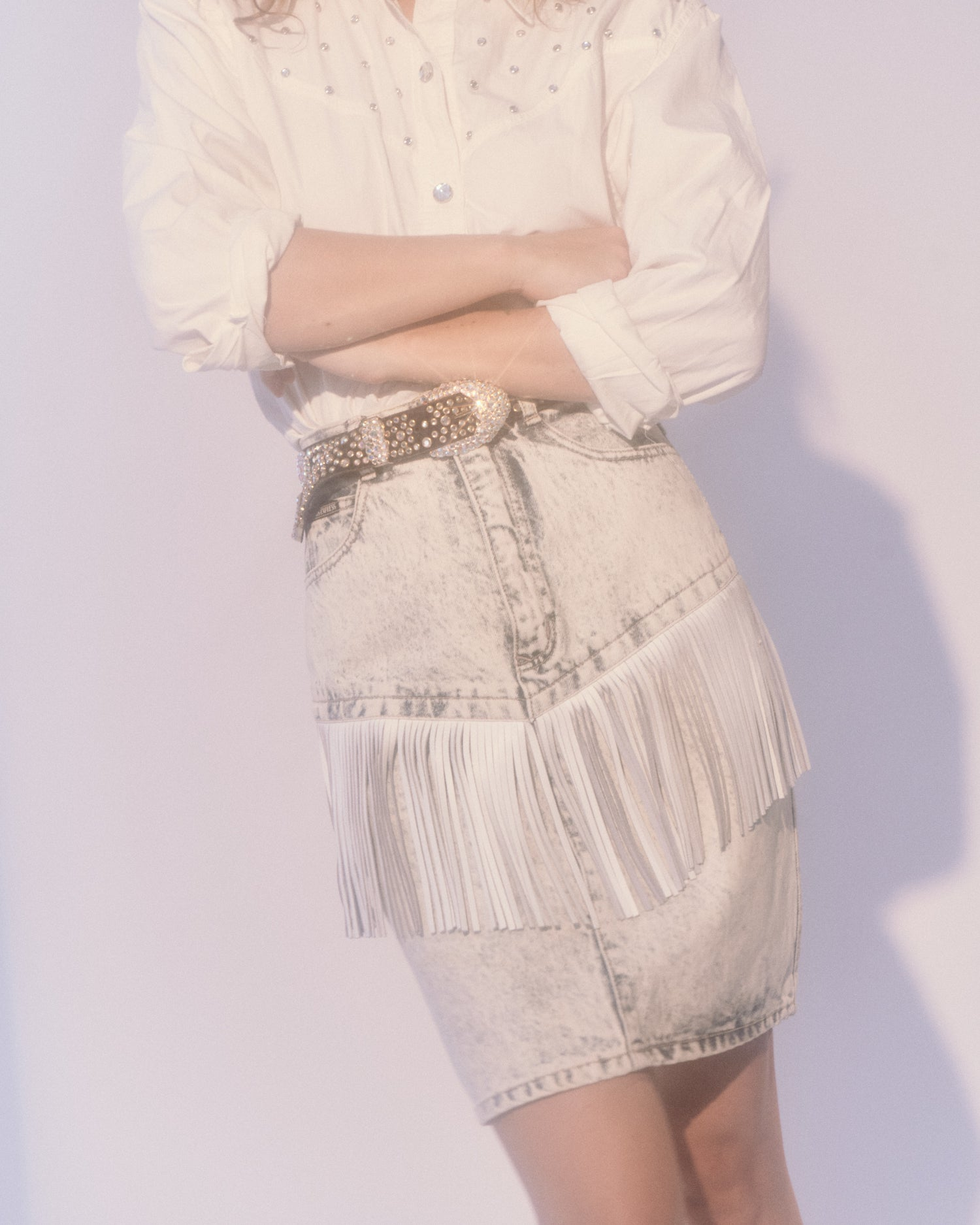 Louise Fringe Denim Skirt