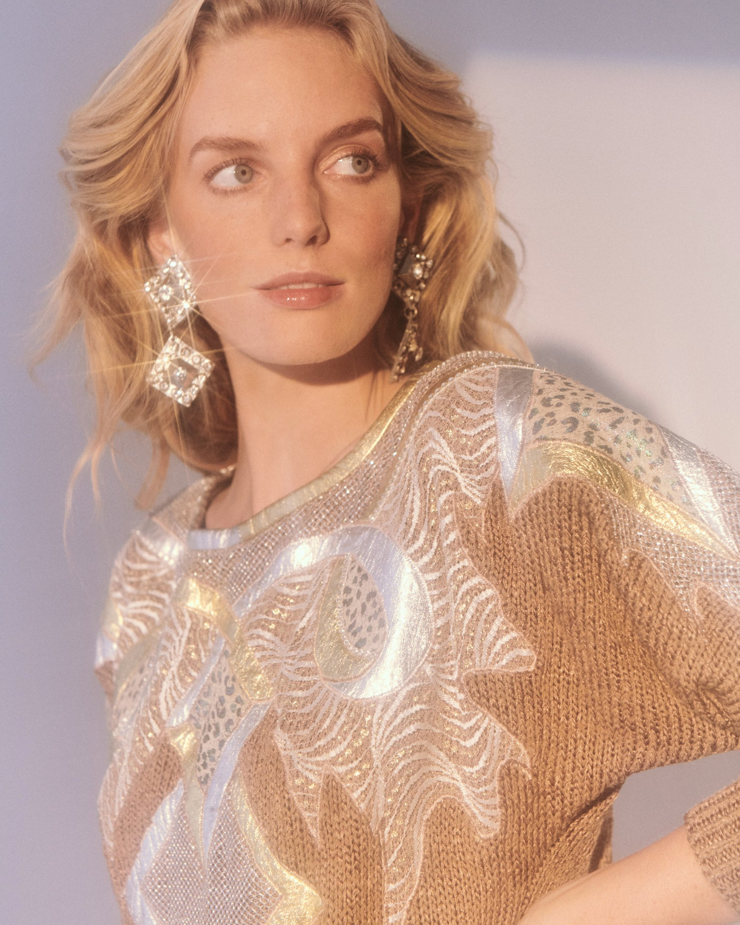 Gold Metal Ribbon Sweater