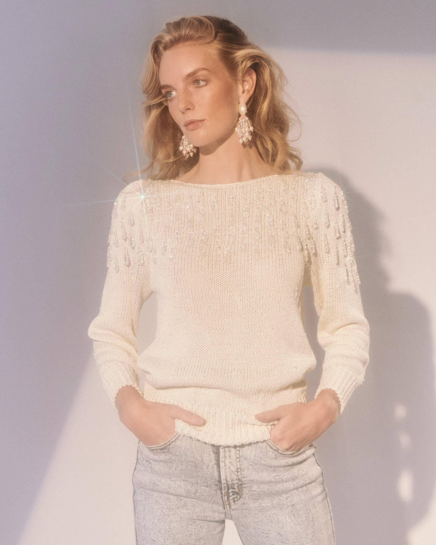 White Wing Dove Beaded Sweater
