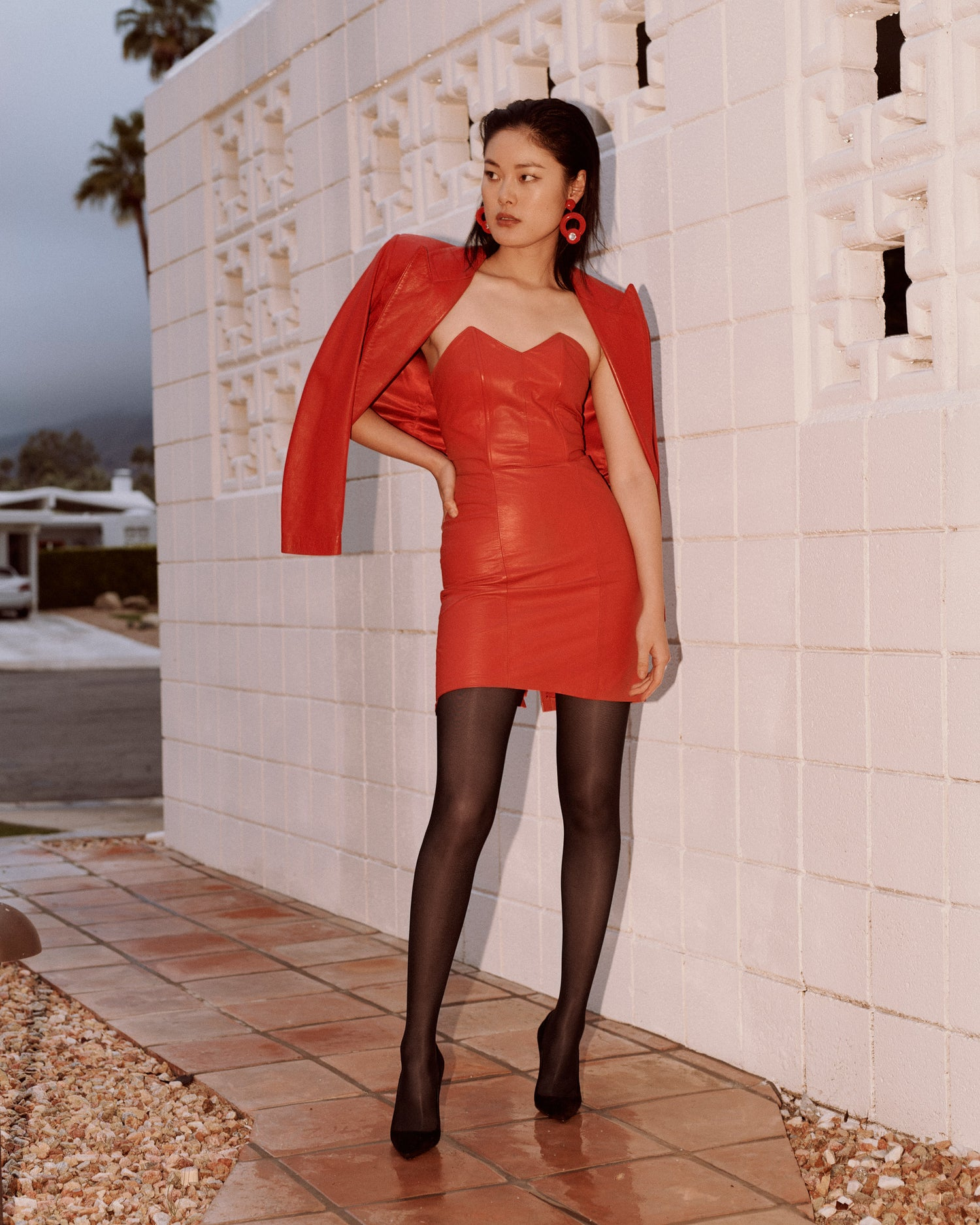 Red Hot Rescue // Leather Sweetheart Dress