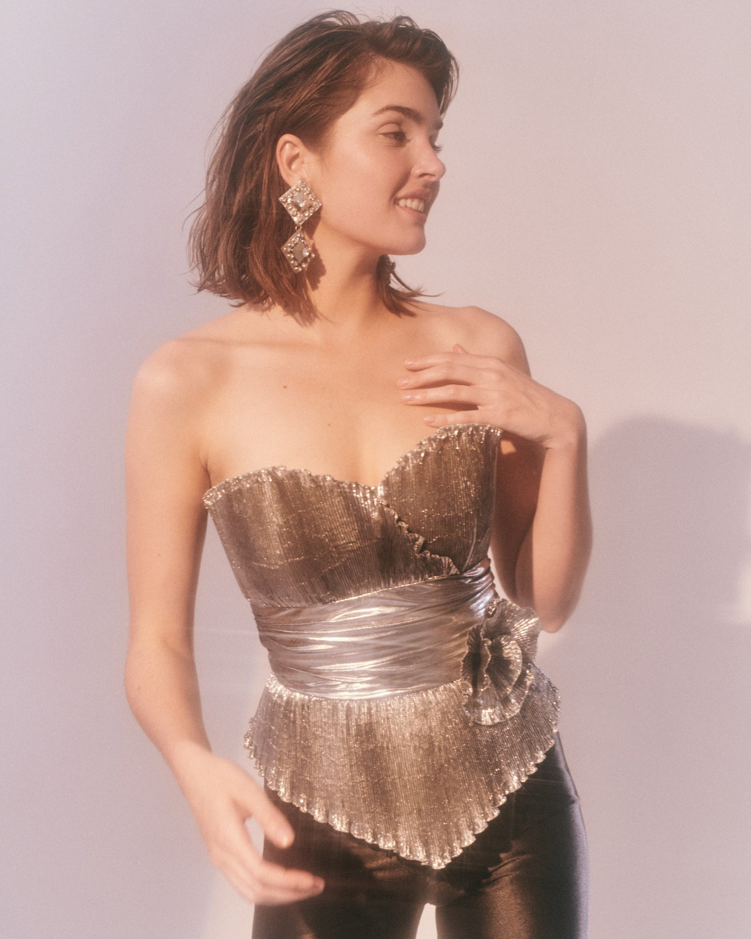 Dancing in the Dark // Pleated Lamé bustier