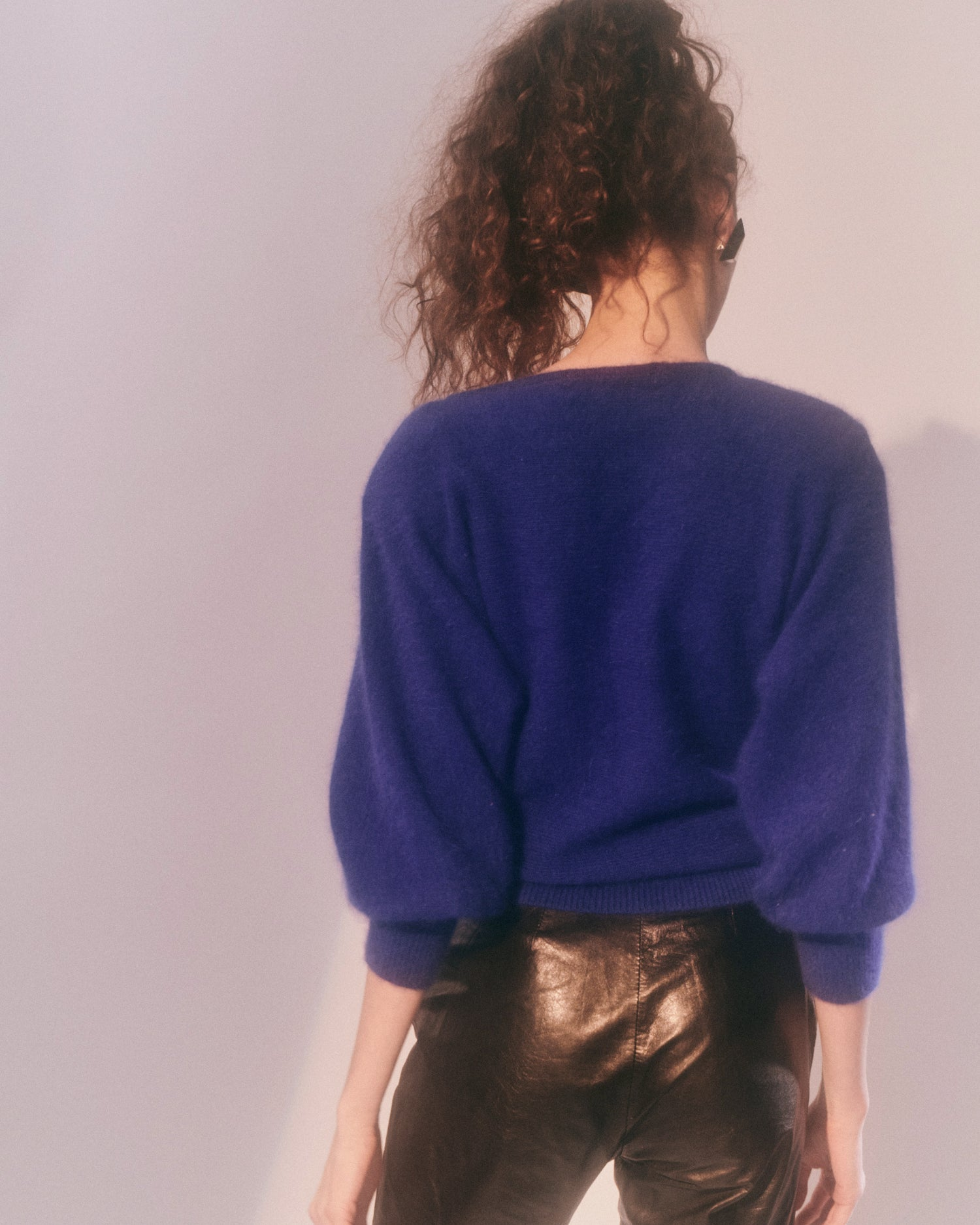 Blue Monday // Leather & Rhinestone Angora sweater