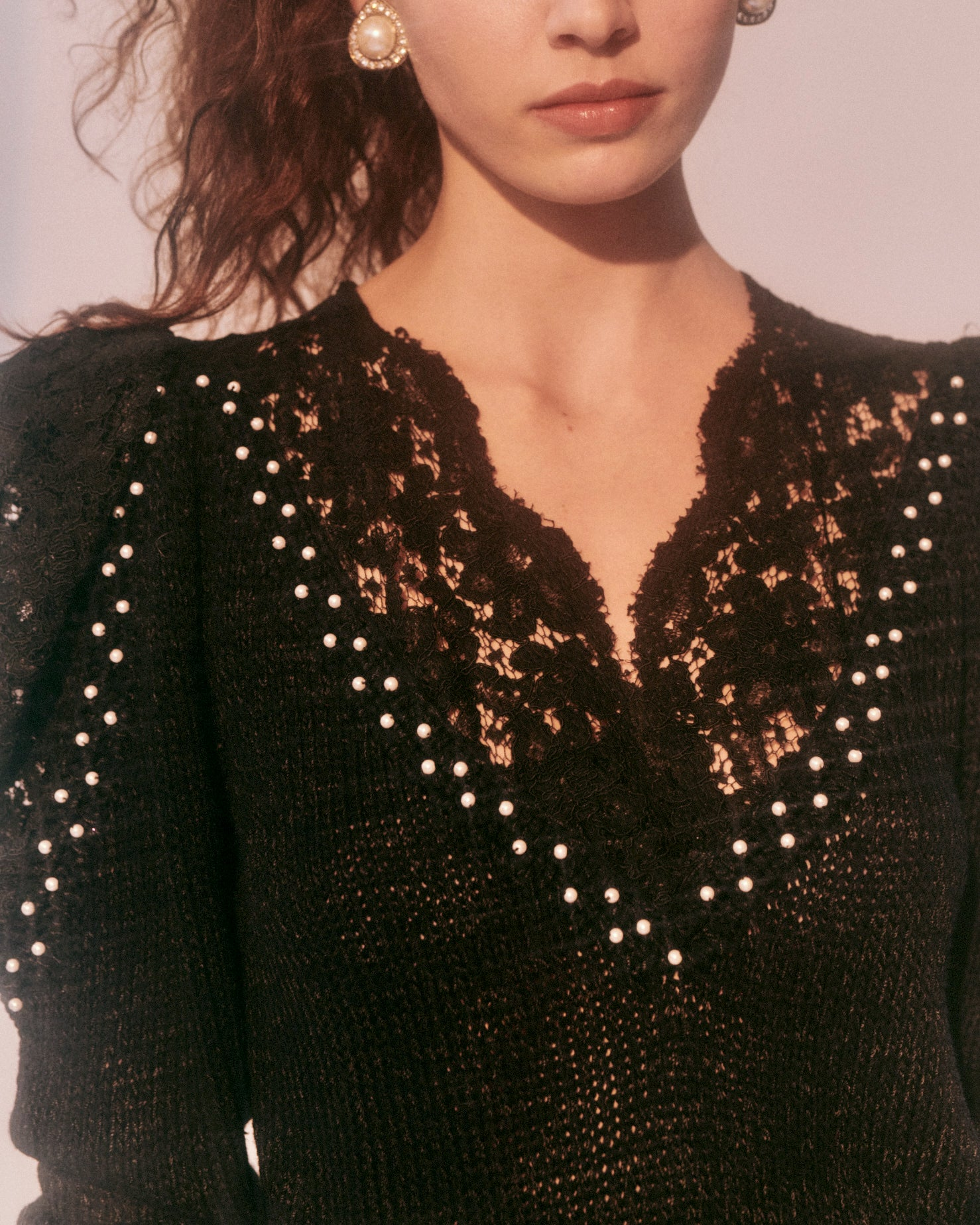 I drove all night // embellished lace sweater