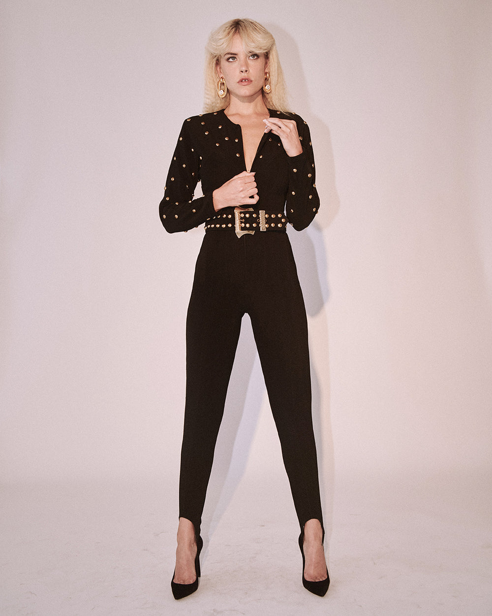 Who's Gonna Drive You Home Studded Catsuit