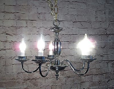 Antique Vintage Chrome Chandelier 5 Light Fixture Pendant.......................