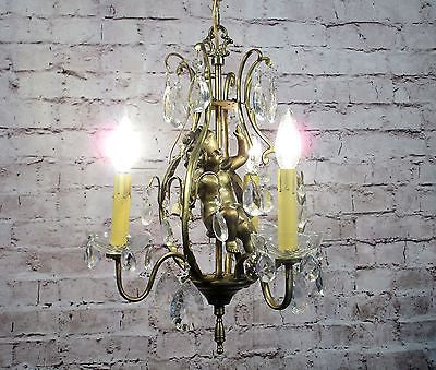 Antique Vintage Chandelier Caged Cherub 3 Light Pendant Fixture Crystals Petite........