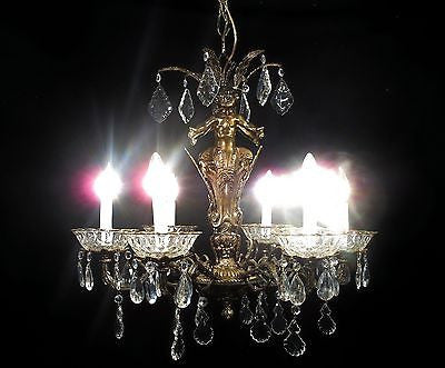 Antique Vintage Chandelier Bronze Cherubs Unique Gold Crystals 6 Light Fixture.....................