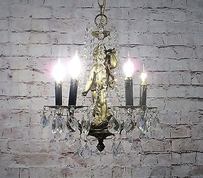 Antique Vintage Chandelier Bronze Petite Cherub Lavish Crystals Ornate 5 Light..................