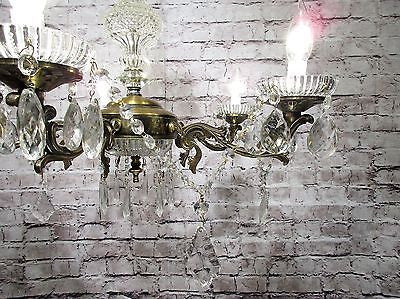 Antique Vintage Chandelier Scrolled Ornate with Crystals Light Fixture............