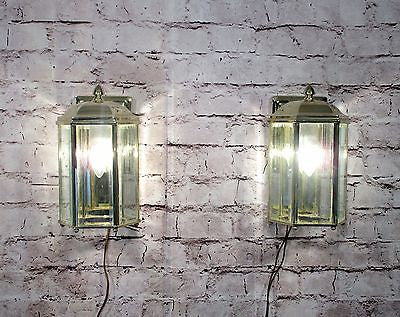 Pair Of Vintage Style Brass Outdoor Lanterns Glass 1 Light Fixtures........