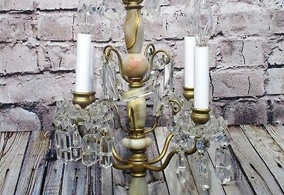 Antique Vintage Table Lamp Onyx and Brass 4 Lt. Candelabra Crystal Unique........