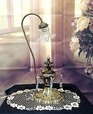 Vintage Antique Style Mermaids Table Lamp w/ Etched Glass Shade Rewired..........