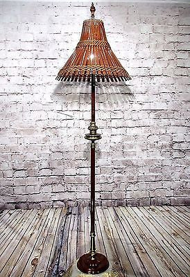Antique Vintage Floor Lamp Bamboo Lamp Shade  Rewired Standing Light Fixture............