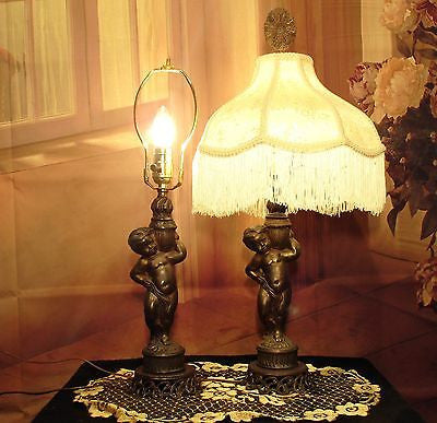 Vintage Antique Pair Cherub Table Lamps Shades Fringed Lights........