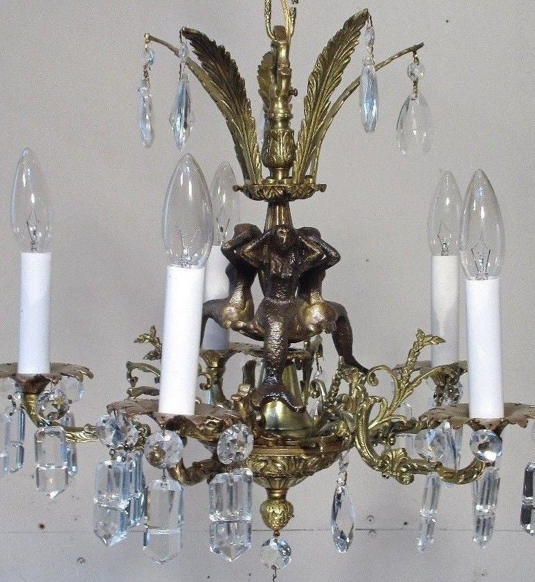 Antique Vintage Bronze Chandelier Mermaids  Light Fixture Lamp Ceiling Pendant........