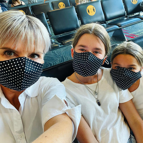 Reusable Cotton Face Mask - Black/White Spot