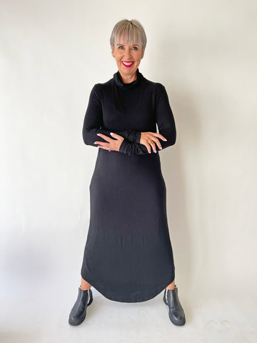 High Neck Leisure Dress - Black PRE-ORDER