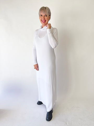 High Neck Leisure Dress - White PRE-ORDER