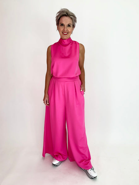 Hayworth Wide Leg Pant - Hot Pink