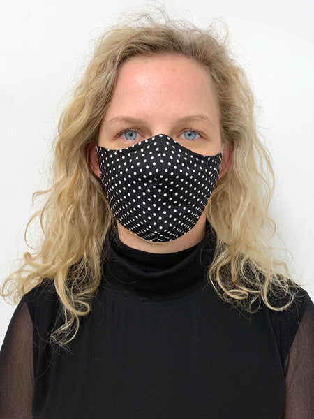 Reusable Cotton Face Mask - Black/White Spot PRE-ORDER