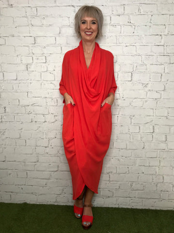 Drape Dress - Flame