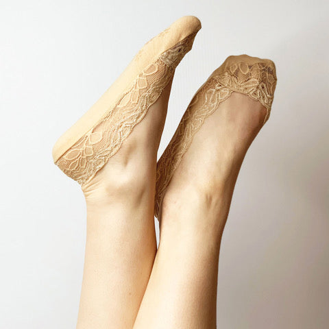 Lace Sockettes - Nude