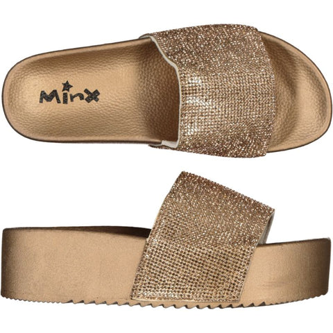 Platform Glitter Slide/Slipper - Gold