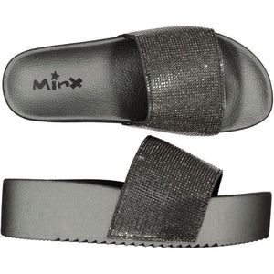 Platform Glitter Slide/Slipper - Pewter