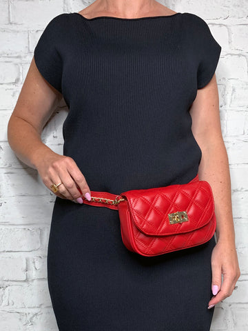 Quilted Belt Bag - Red